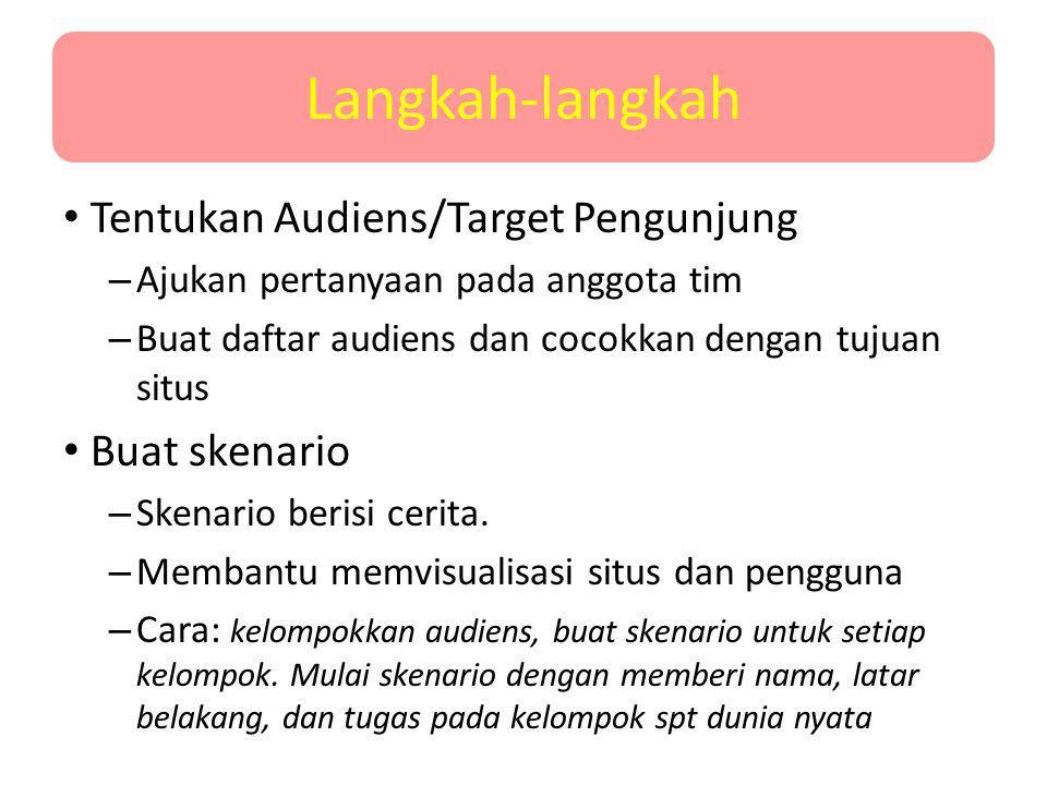 Langkah-langkah Tentukan Audiens/Target Pengunjung – Ajukan pertanyaan pada anggota tim – Buat daftar audiens dan cocokkan dengan tujuan situs Buat sk
