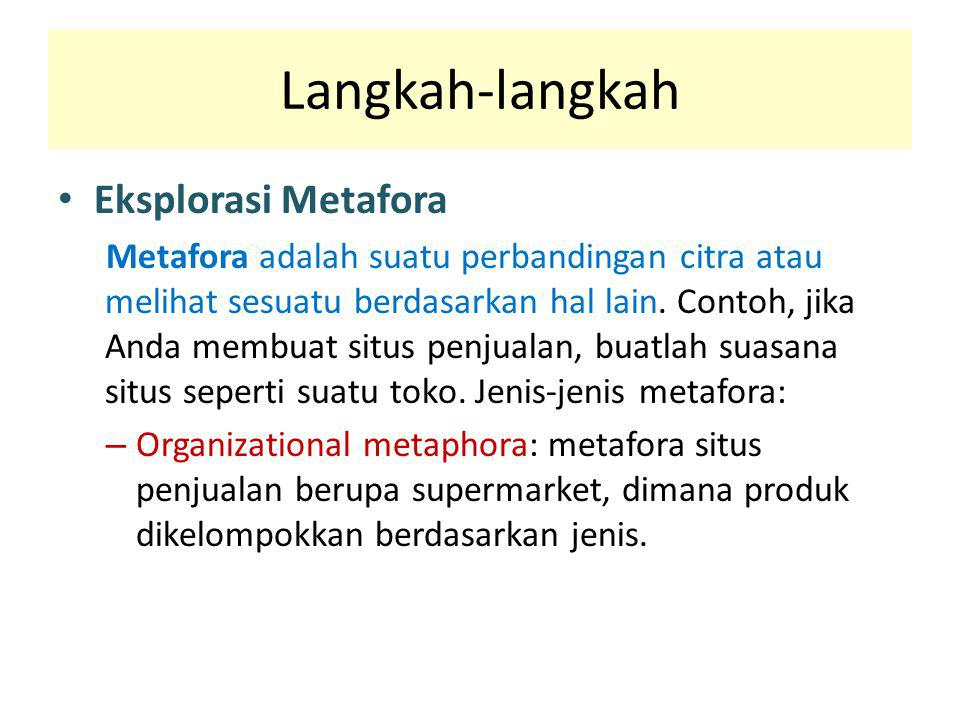 Langkah-langkah Eksplorasi Metafora Metafora adalah suatu perbandingan citra atau melihat sesuatu berdasarkan hal lain. Contoh, jika Anda membuat situ
