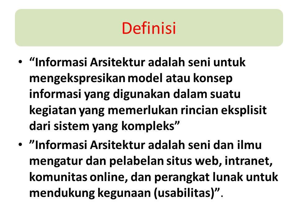 """Definisi """"Informasi Arsitektur adalah seni untuk mengekspresikan model atau konsep informasi yang digunakan dalam suatu kegiatan yang memerlukan rinci"""