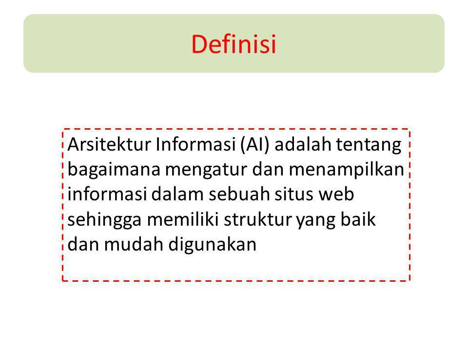 Definisi Arsitektur Informasi (AI) adalah tentang bagaimana mengatur dan menampilkan informasi dalam sebuah situs web sehingga memiliki struktur yang