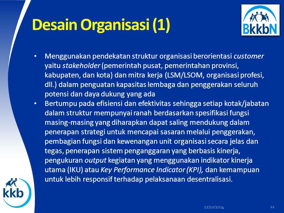 Desain Organisasi (1) Menggunakan pendekatan struktur organisasi berorientasi customer yaitu stakeholder (pemerintah pusat, pemerintahan provinsi, kab