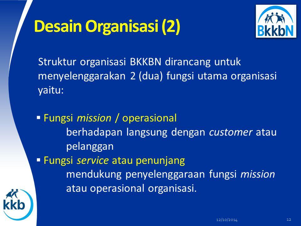 Desain Organisasi (2) Struktur organisasi BKKBN dirancang untuk menyelenggarakan 2 (dua) fungsi utama organisasi yaitu:  Fungsi mission / operasional berhadapan langsung dengan customer atau pelanggan  Fungsi service atau penunjang mendukung penyelenggaraan fungsi mission atau operasional organisasi.