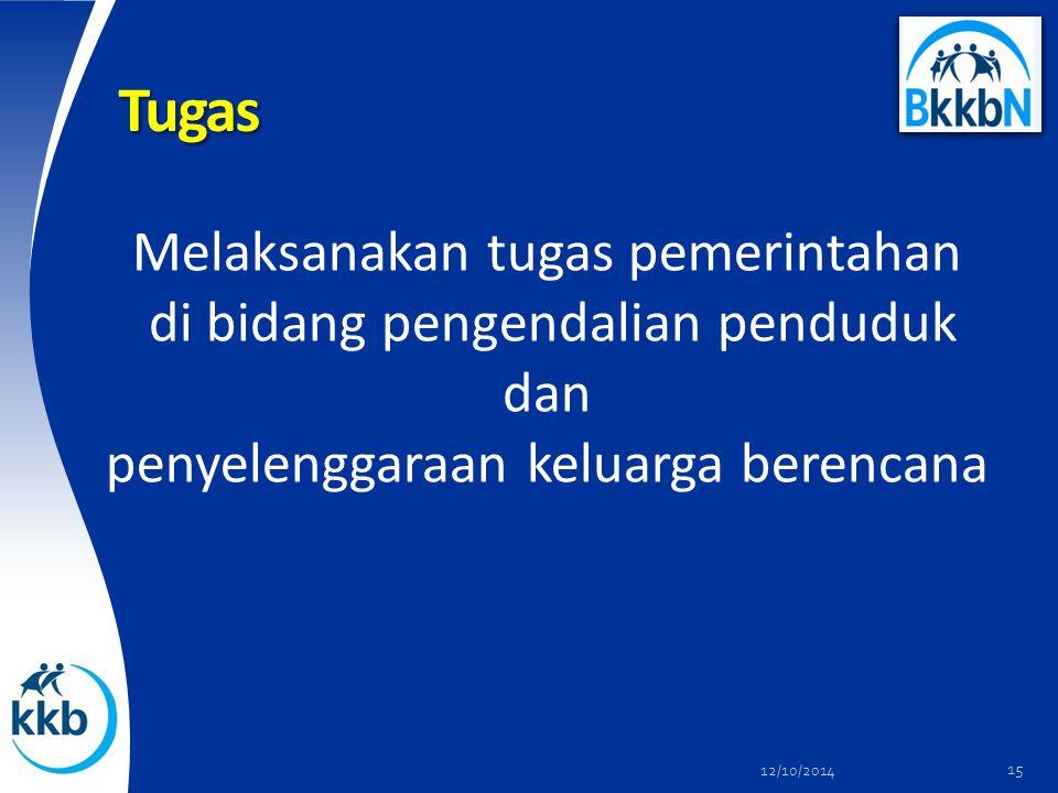 Tugas Melaksanakan tugas pemerintahan di bidang pengendalian penduduk dan penyelenggaraan keluarga berencana 12/10/2014 15