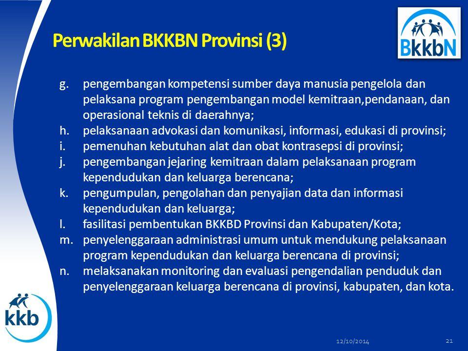 Perwakilan BKKBN Provinsi (3) g.pengembangan kompetensi sumber daya manusia pengelola dan pelaksana program pengembangan model kemitraan,pendanaan, da