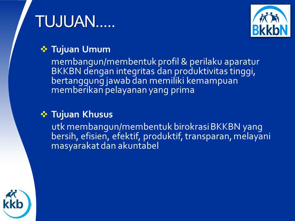  Tujuan Umum membangun/membentuk profil & perilaku aparatur BKKBN dengan integritas dan produktivitas tinggi, bertanggung jawab dan memiliki kemampuan memberikan pelayanan yang prima  Tujuan Khusus utk membangun/membentuk birokrasi BKKBN yang bersih, efisien, efektif, produktif, transparan, melayani masyarakat dan akuntabel TUJUAN.....