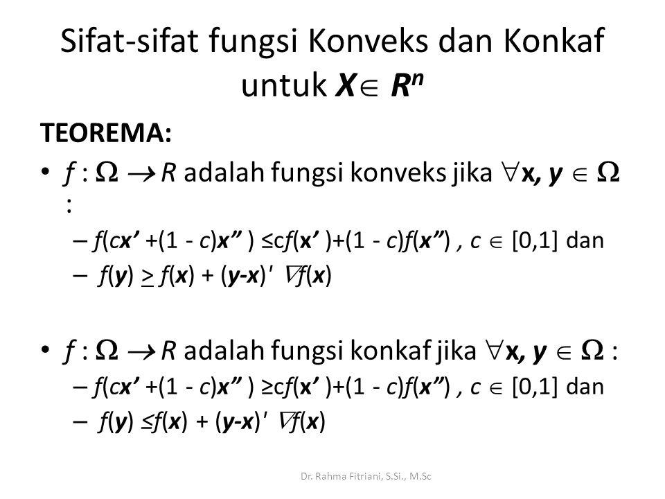 TEOREMA: f :   R adalah fungsi konveks jika  x, y   : – f(cx' +(1 - c)x ) ≤cf(x' )+(1 - c)f(x ), c  [0,1] dan – f(y) > f(x) + (y-x)  f(x) f :   R adalah fungsi konkaf jika  x, y   : – f(cx' +(1 - c)x ) ≥cf(x' )+(1 - c)f(x ), c  [0,1] dan – f(y) ≤f(x) + (y-x)  f(x) Dr.
