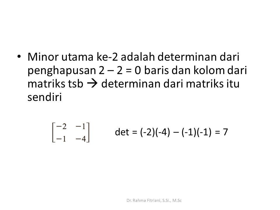 Minor utama ke-2 adalah determinan dari penghapusan 2 – 2 = 0 baris dan kolom dari matriks tsb  determinan dari matriks itu sendiri Dr.