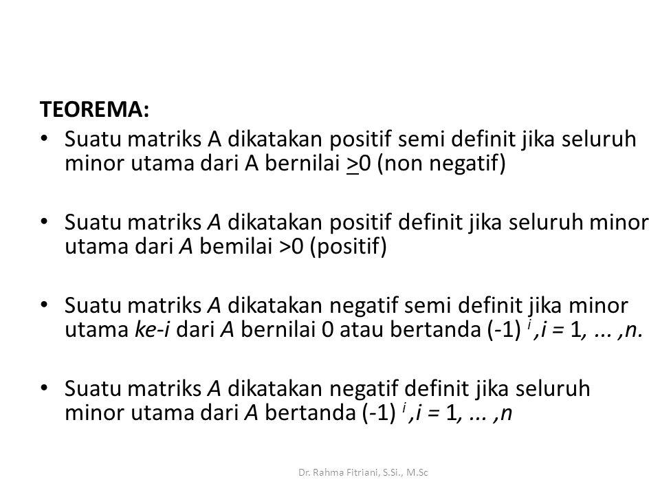 TEOREMA: Suatu matriks A dikatakan positif semi definit jika seluruh minor utama dari A bernilai >0 (non negatif) Suatu matriks A dikatakan positif definit jika seluruh minor utama dari A bemilai >0 (positif) Suatu matriks A dikatakan negatif semi definit jika minor utama ke-i dari A bernilai 0 atau bertanda (-1) i,i = 1,...,n.