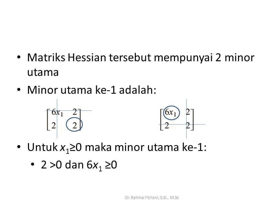 Matriks Hessian tersebut mempunyai 2 minor utama Minor utama ke-1 adalah: Dr.