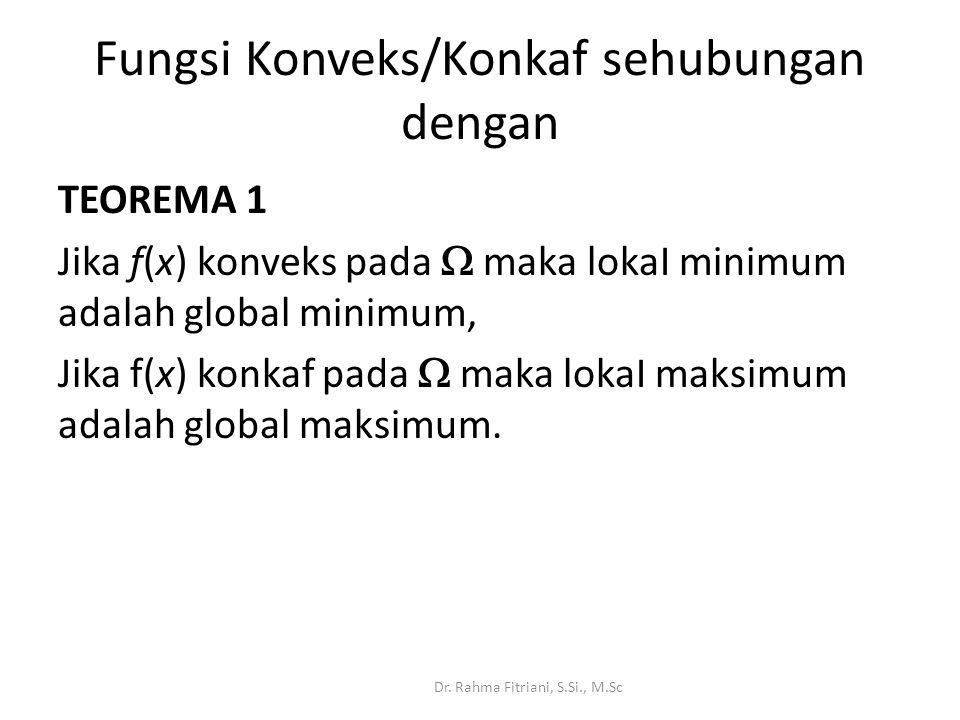 Fungsi Konveks/Konkaf sehubungan dengan TEOREMA 1 Jika f(x) konveks pada  maka lokaI minimum adalah global minimum, Jika f(x) konkaf pada  maka lokaI maksimum adalah global maksimum.