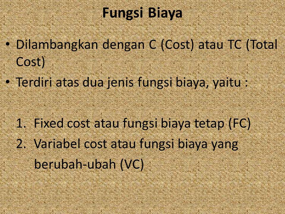 Dilambangkan dengan C (Cost) atau TC (Total Cost) Terdiri atas dua jenis fungsi biaya, yaitu : 1.Fixed cost atau fungsi biaya tetap (FC) 2.Variabel co