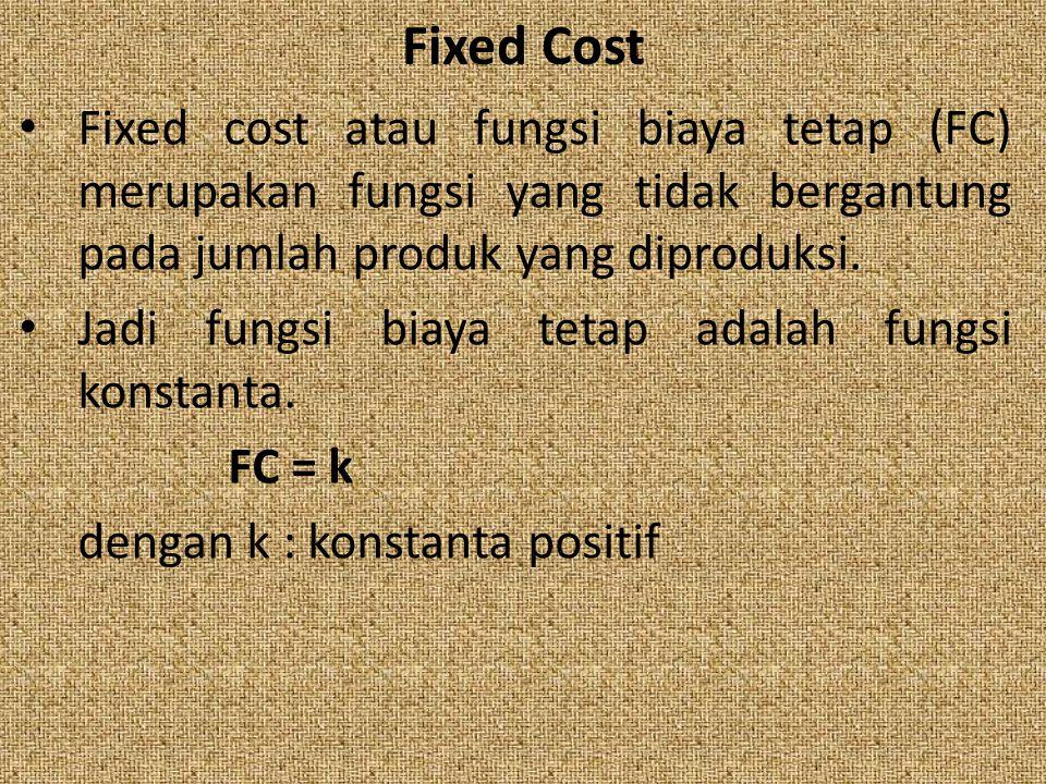 Fixed Cost Fixed cost atau fungsi biaya tetap (FC) merupakan fungsi yang tidak bergantung pada jumlah produk yang diproduksi. Jadi fungsi biaya tetap