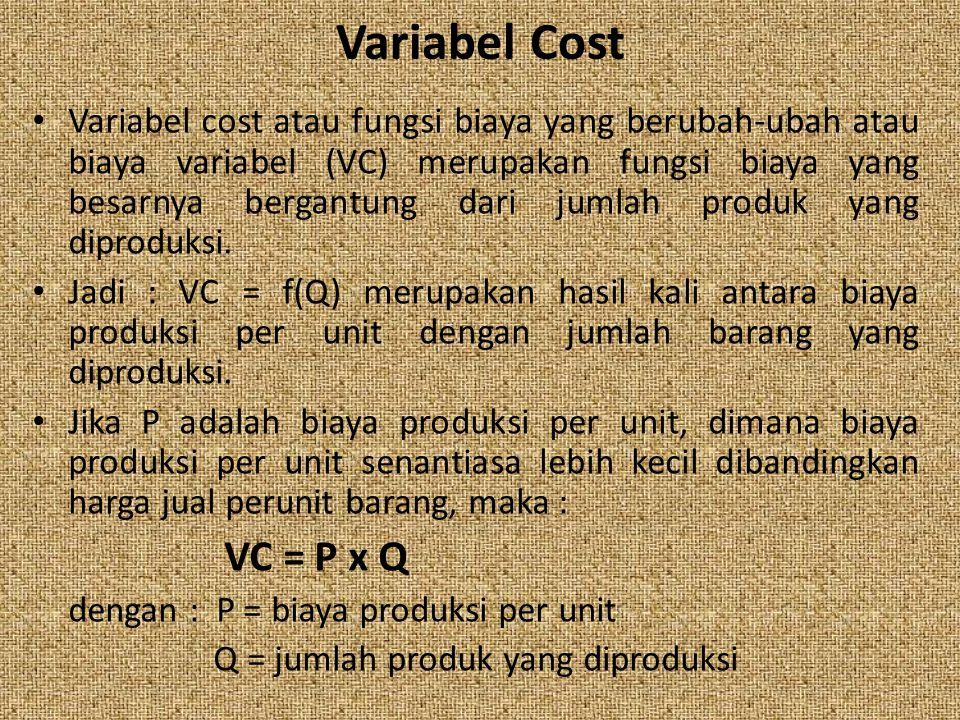 Variabel Cost Variabel cost atau fungsi biaya yang berubah-ubah atau biaya variabel (VC) merupakan fungsi biaya yang besarnya bergantung dari jumlah p