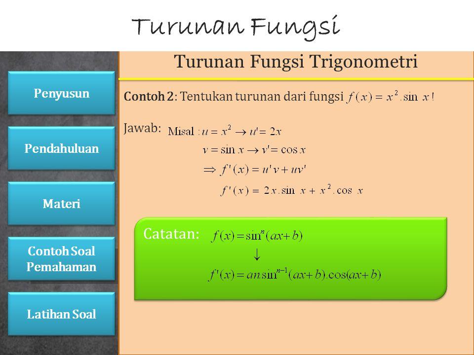 Turunan Fungsi Trigonometri Contoh 1: Buktikan bahwa turunan dari fungsi f(x)=sin x adalah f'(x)=cos x ! Jawab: Turunan Fungsi Penyusun Pendahuluan Ma