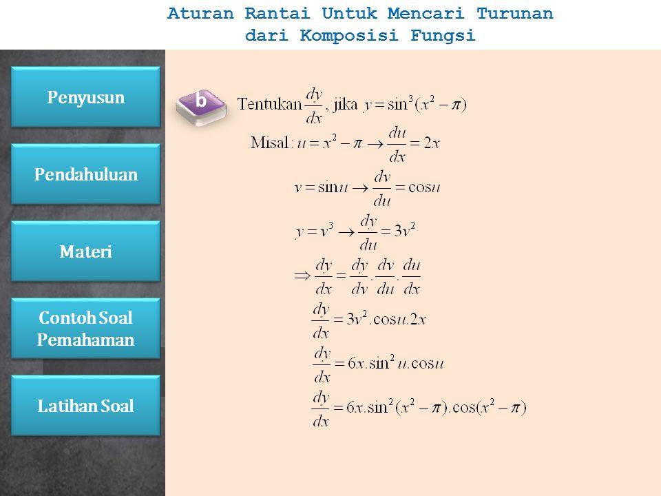 Jika u = f(x), v = f(u), y = f(v), dimana u, v, dan y terdiferensialkan, maka berlaku: Contoh: a Penyusun Pendahuluan Materi Latihan Soal Contoh Soal