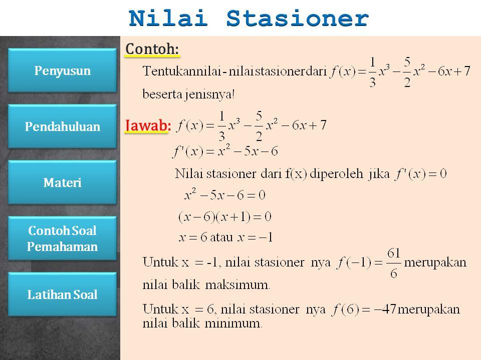 1. Jenis-Jenis Nilai Stasioner a.Jika f' (a - ) 0, maka f(a) merupakan nilai balik minimum. b.Jika f' (a - ) > 0 dan f' (a + ) < 0, maka f(a) merupaka