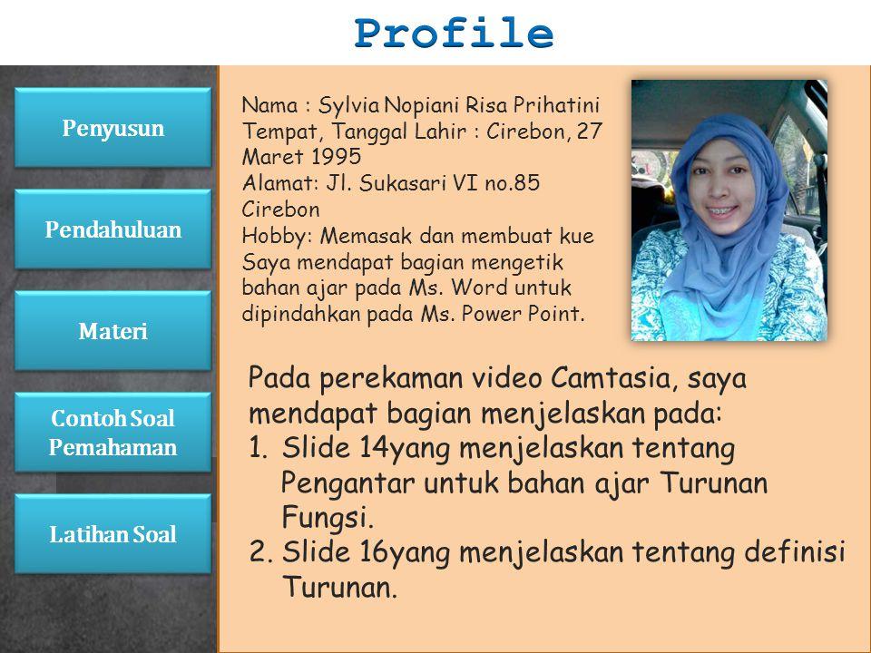 Nama : Marissa Dwi Andrianne Tempat, Tanggal Lahir : Cirebon, 27 Maret 1995 Alamat: Jl. Sukasari VI no.85 Cirebon Hobby: Memasak dan membuat kue Saya