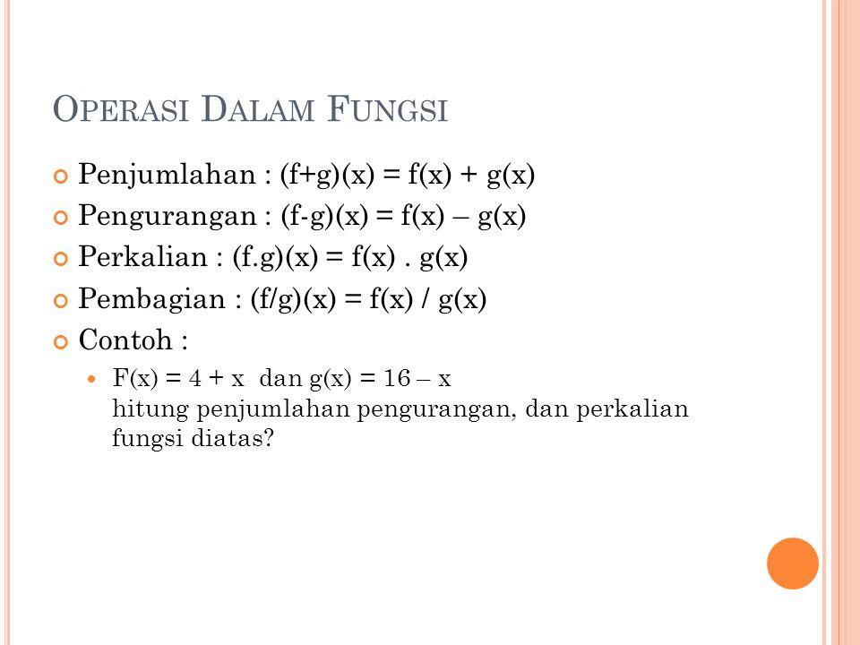 O PERASI D ALAM F UNGSI Penjumlahan : (f+g)(x) = f(x) + g(x) Pengurangan : (f-g)(x) = f(x) – g(x) Perkalian : (f.g)(x) = f(x). g(x) Pembagian : (f/g)(