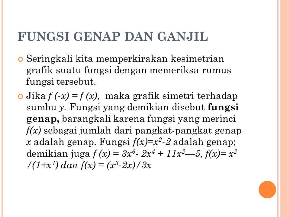 FUNGSI GENAP DAN GANJIL Seringkali kita memperkirakan kesimetrian grafik suatu fungsi dengan memeriksa rumus fungsi tersebut. Jika f (-x) = f (x), mak
