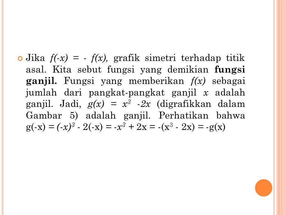 Jika f(-x) = - f(x), grafik simetri terhadap titik asal. Kita sebut fungsi yang demikian fungsi ganjil. Fungsi yang memberikan f(x) sebagai jumlah dar