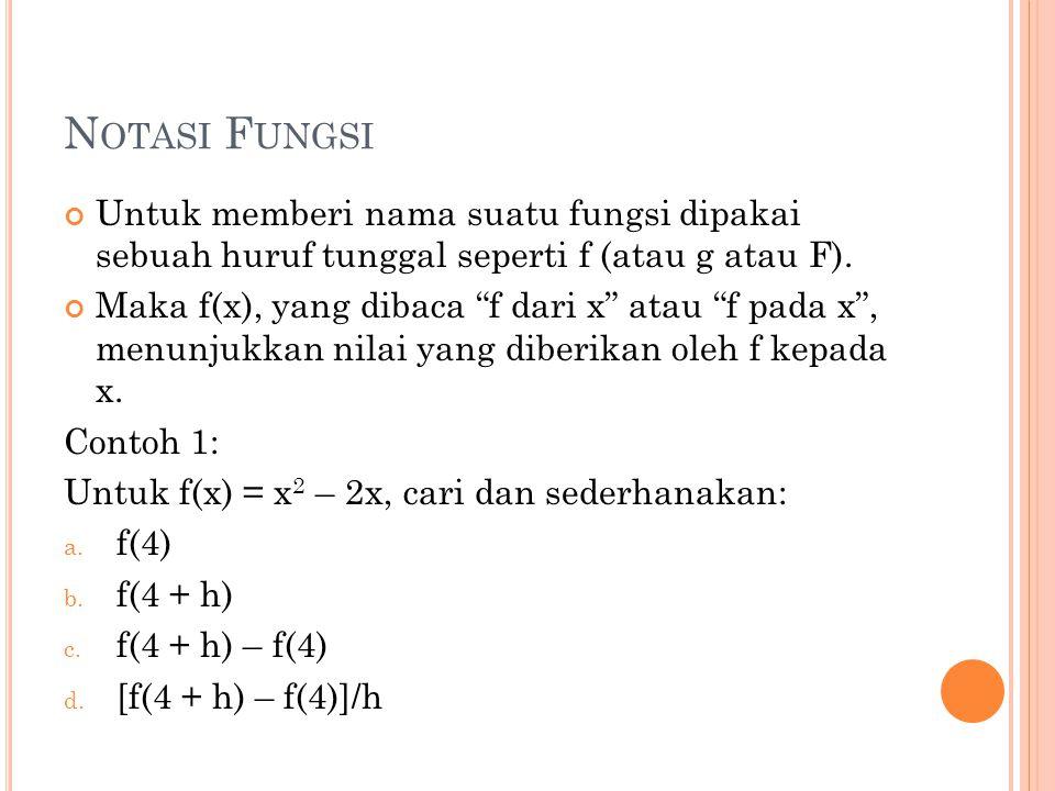 P ENYELESAIAN a.f(4) = 4 2 – 2. 4 = 8 b. f(4 + h) = (4+h) 2 – 2(4+h) = 8 + 6h + h 2 c.