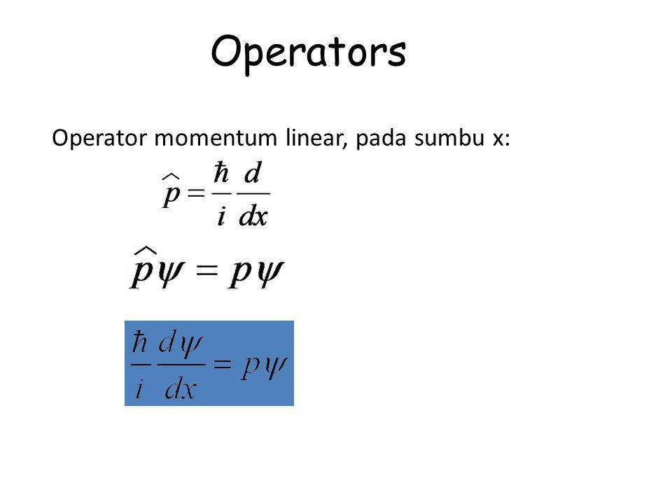 Operators Operator momentum linear, pada sumbu x: