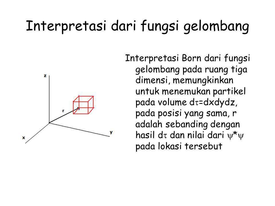 Normalisasi Fungsi Gelombang Fungsi gelombang yang ternormalisasi N , kemungkinan partikel untuk berada pada daerah dx senilai dengan (N  *)(N  )dx.