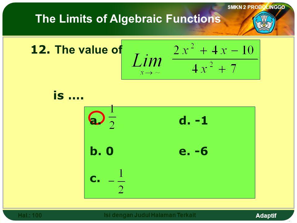 Adaptif SMKN 2 PROBOLINGGO Hal.: 99 Isi dengan Judul Halaman Terkait 12. Nilai dari adalah…. a. d. -1 b. 0e. -6 c. Limit fungsi aljabar
