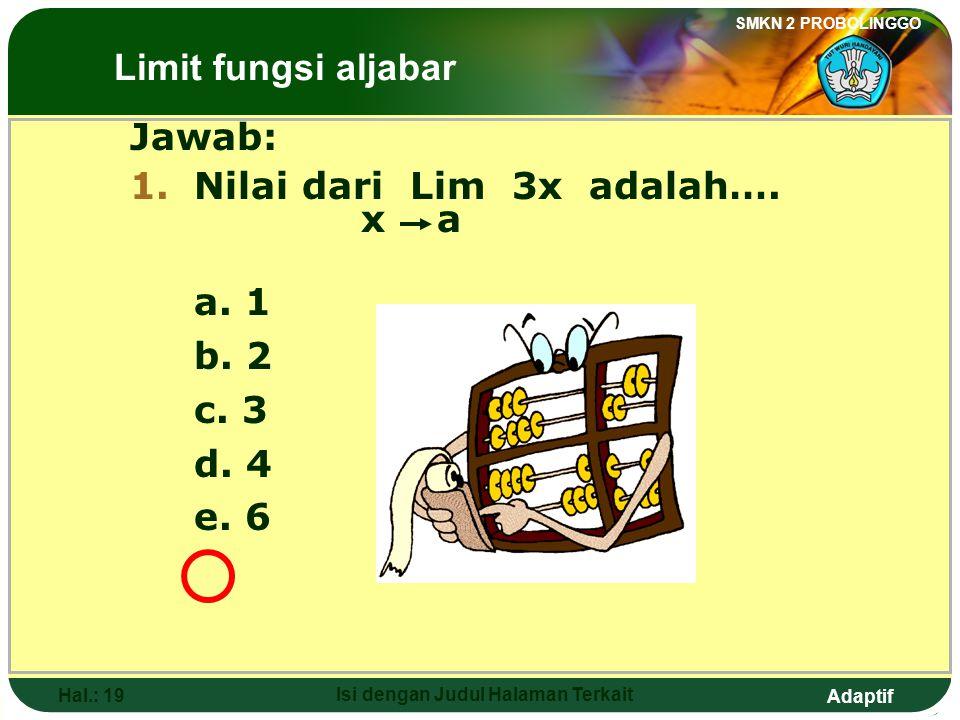 Adaptif SMKN 2 PROBOLINGGO Hal.: 18 Isi dengan Judul Halaman Terkait Discussion 1: Lim 3x = 3(2) x 2 = 6 Discussion 2: Lim 3x = 3 Lim X x 2 = 3(2) = 6 The Limits of Algebraic Functions