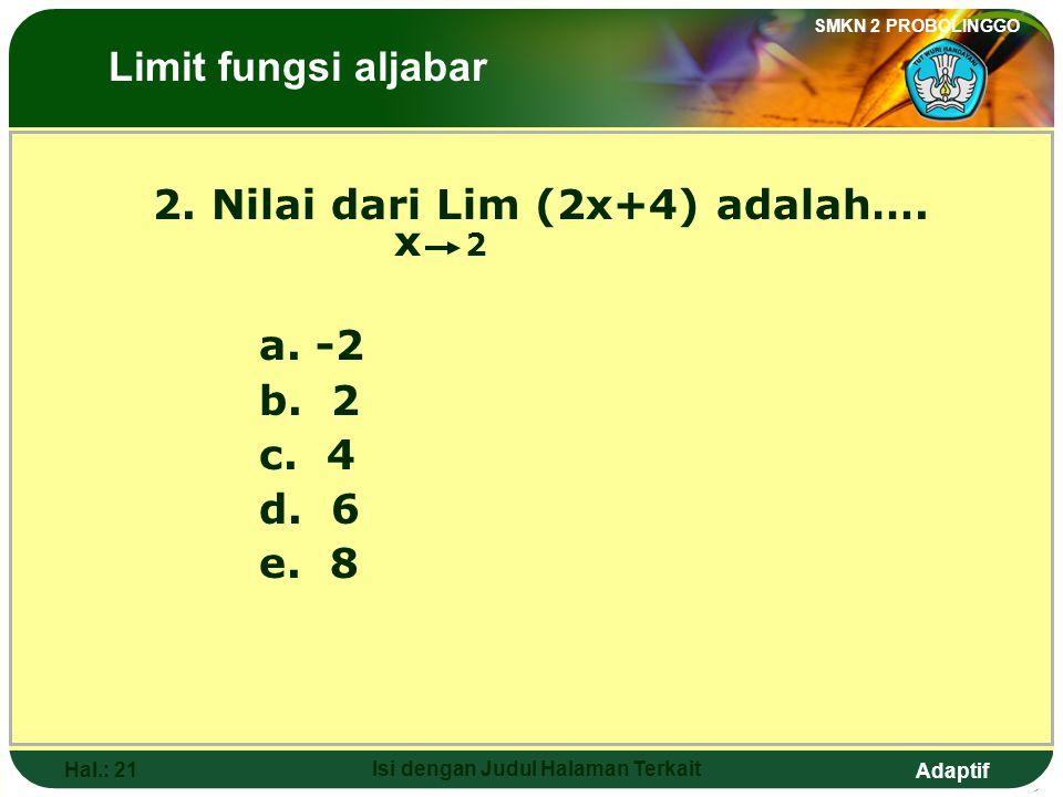 Adaptif SMKN 2 PROBOLINGGO Hal.: 20 Isi dengan Judul Halaman Terkait Answer: 1.The value of Lim 3x is …. x a a. 1 b. 2 c. 3 d. 4 e. 6 The Limits of Al