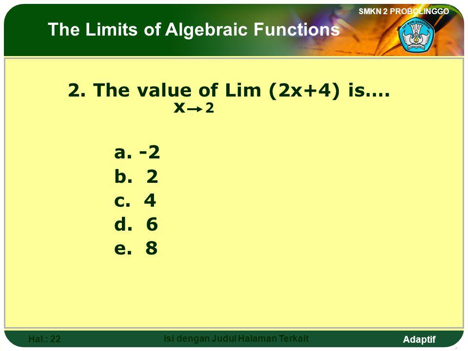 Adaptif SMKN 2 PROBOLINGGO Hal.: 21 Isi dengan Judul Halaman Terkait 2. Nilai dari Lim (2x+4) adalah…. x 2 a. -2 b. 2 c. 4 d. 6 e. 8 Limit fungsi alja