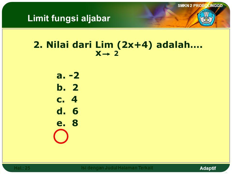 Adaptif SMKN 2 PROBOLINGGO Hal.: 24 Isi dengan Judul Halaman Terkait Discussion: Lim (2x+4) = 2(2) + 4 x 2 = 4 + 4 = 8 The Limits of Algebraic Functio