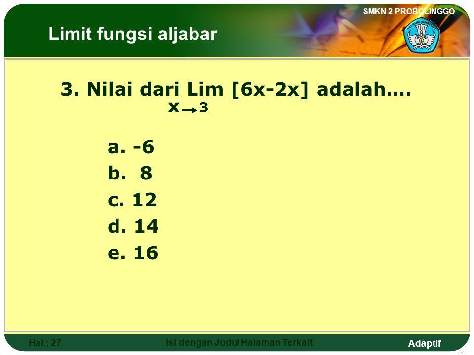 Adaptif SMKN 2 PROBOLINGGO Hal.: 26 Isi dengan Judul Halaman Terkait 2. The value of Lim (2x+4) is …. x 2 a. -2 b. 2 c. 4 d. 6 e. 8 The Limits of Alge