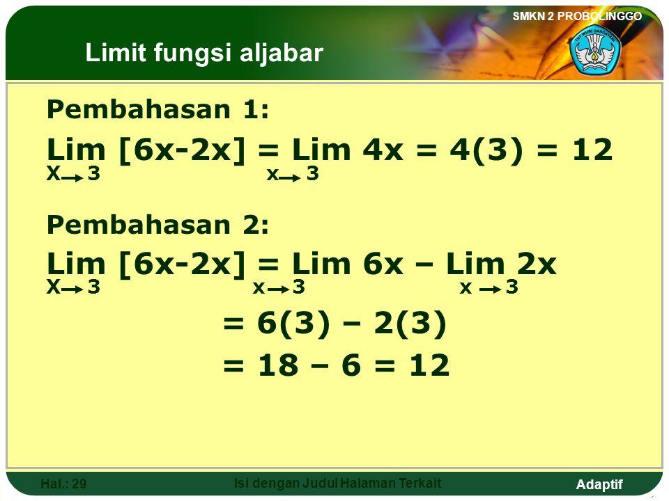 Adaptif SMKN 2 PROBOLINGGO Hal.: 28 Isi dengan Judul Halaman Terkait 3. The value of Lim [6x-2x] is …. x 3 a. -6 b. 8 c. 12 d. 14 e. 16 The Limits of
