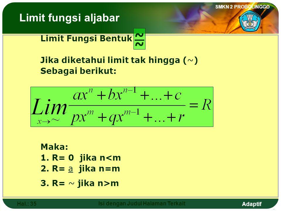 Adaptif SMKN 2 PROBOLINGGO Hal.: 34 Isi dengan Judul Halaman Terkait The form of function limit If f(x) = (x-a).h(x) g(x) = (x-a).k(x) Then: The Limits of Algebraic Functions