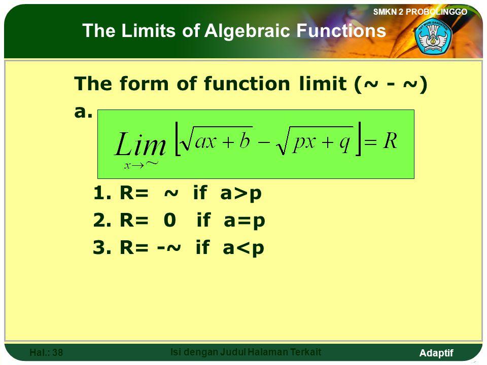 Adaptif SMKN 2 PROBOLINGGO Hal.: 37 Isi dengan Judul Halaman Terkait Limit Fungsi Bentuk (~ - ~) a. 1. R= ~ jika a>p 2. R= 0 jika a=p 3. R= -~ jika a<