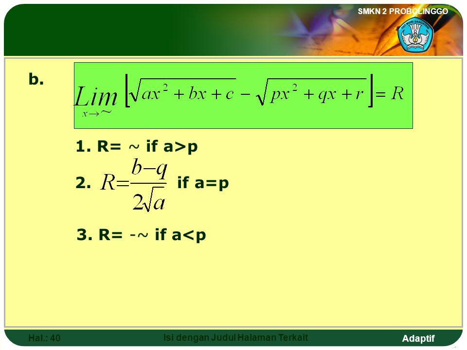 Adaptif SMKN 2 PROBOLINGGO Hal.: 39 Isi dengan Judul Halaman Terkait b. 1. R= ~ jika a>p 2. jika a=p 3. R= -~ jika a<p