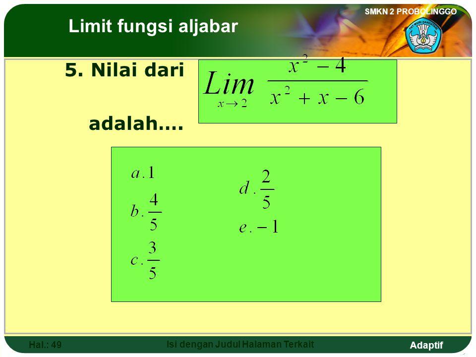 Adaptif SMKN 2 PROBOLINGGO Hal.: 48 Isi dengan Judul Halaman Terkait Exercise: 4. The value of is …. a. 3d. b. 2 c. 1e. -2 The Limits of Algebraic Fun