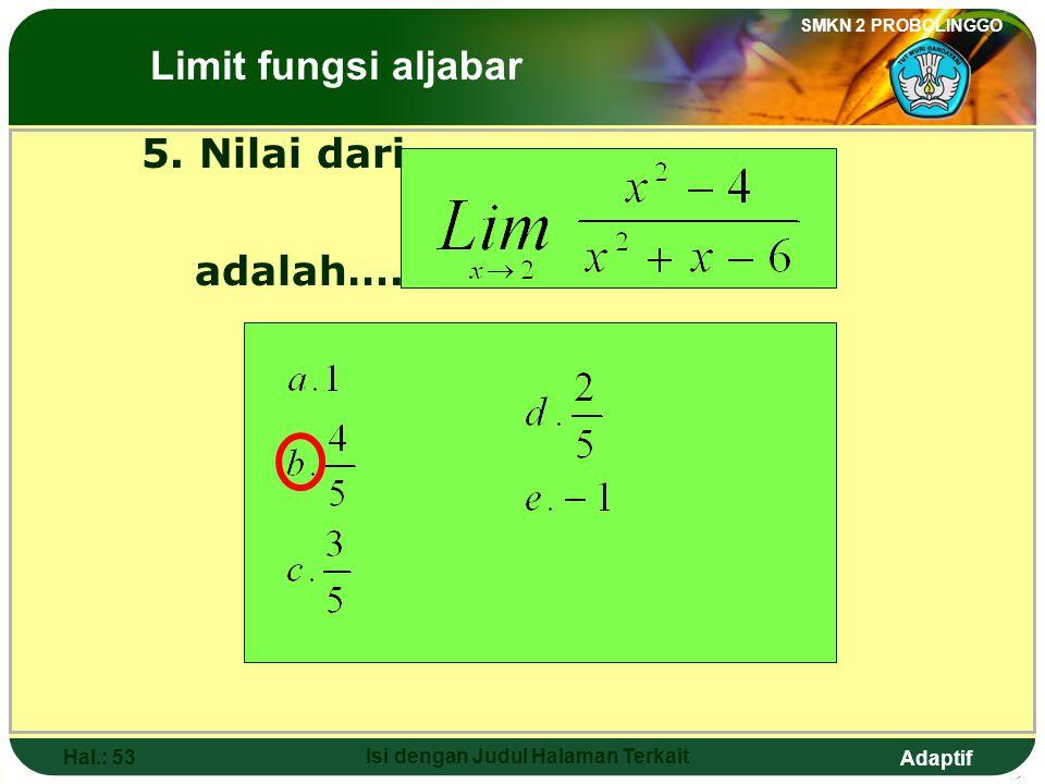Adaptif SMKN 2 PROBOLINGGO Hal.: 52 Isi dengan Judul Halaman Terkait Discussion: The Limits of Algebraic Functions