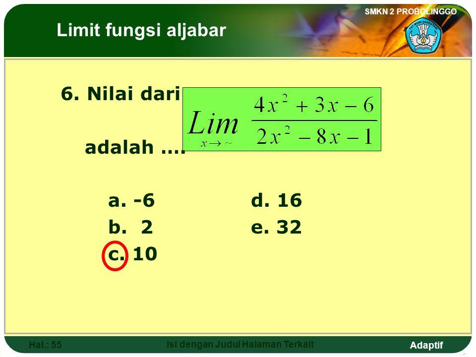 Adaptif SMKN 2 PROBOLINGGO Hal.: 54 Isi dengan Judul Halaman Terkait 5. The value of is …. The Limits of Algebraic Functions