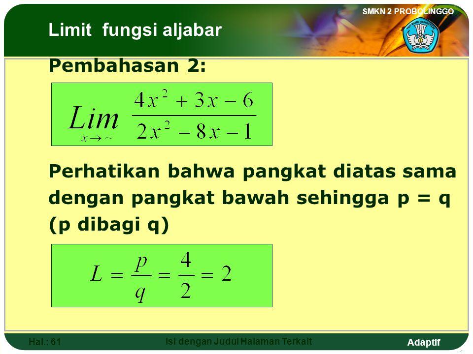 Adaptif SMKN 2 PROBOLINGGO Hal.: 60 Isi dengan Judul Halaman Terkait Discussion 1: The Limits of Algebraic Functions