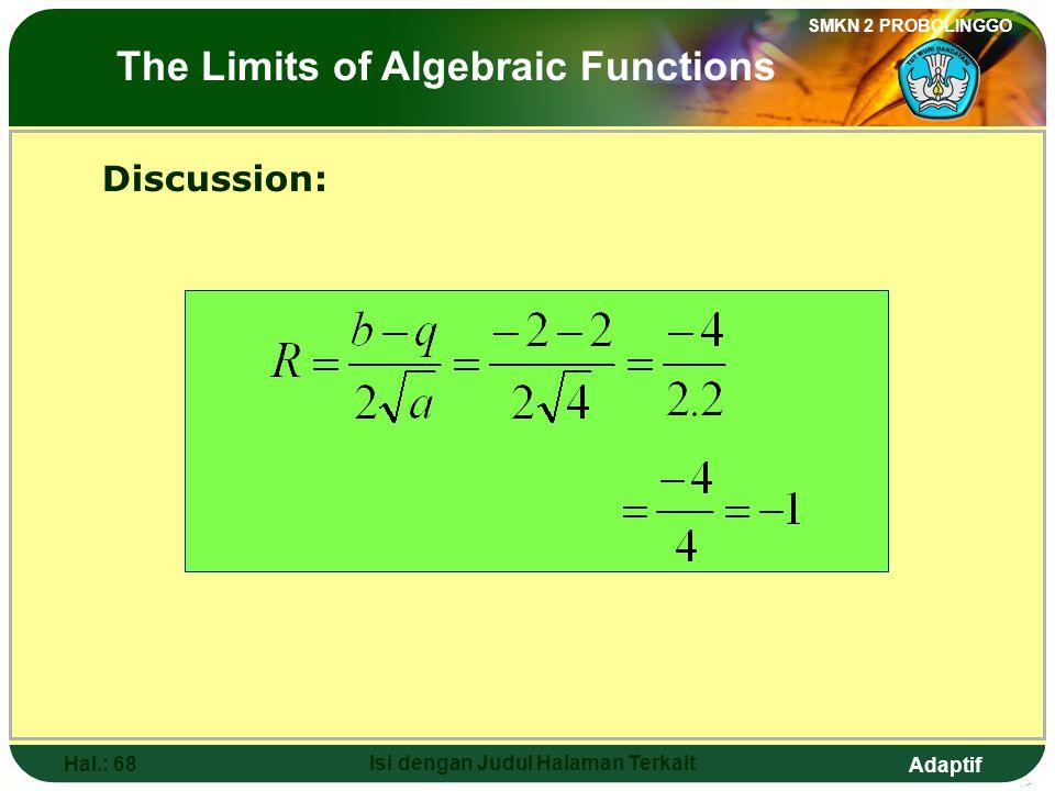Adaptif SMKN 2 PROBOLINGGO Hal.: 67 Isi dengan Judul Halaman Terkait Pembahasan: Limit fungsi aljabar
