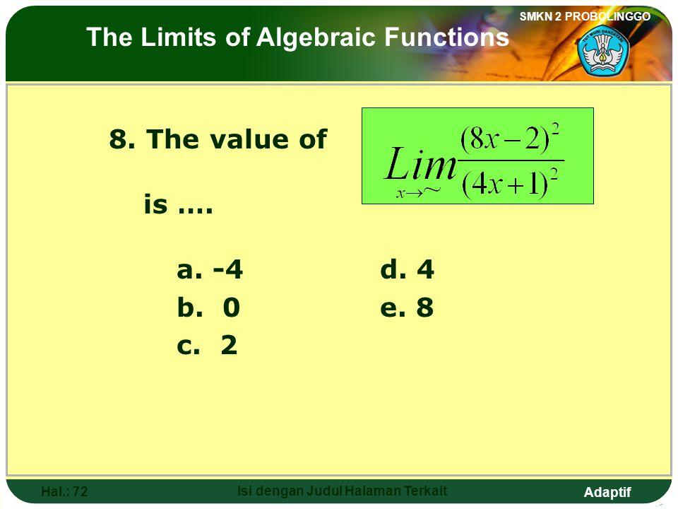 Adaptif SMKN 2 PROBOLINGGO Hal.: 71 Isi dengan Judul Halaman Terkait 8. Nilai dari adalah…. a. -4d. 4 b. 0e. 8 c. 2 Limit fungsi sljabar