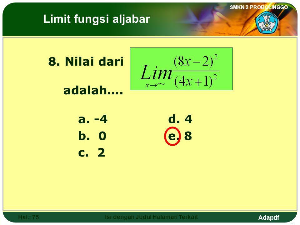 Adaptif SMKN 2 PROBOLINGGO Hal.: 74 Isi dengan Judul Halaman Terkait Discussion: The Limits of Algebraic Functions