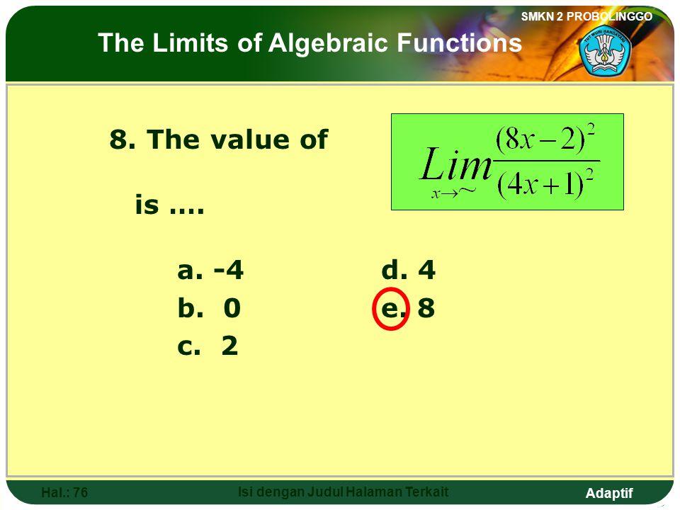Adaptif SMKN 2 PROBOLINGGO Hal.: 75 Isi dengan Judul Halaman Terkait 8. Nilai dari adalah…. a. -4d. 4 b. 0e. 8 c. 2 Limit fungsi aljabar