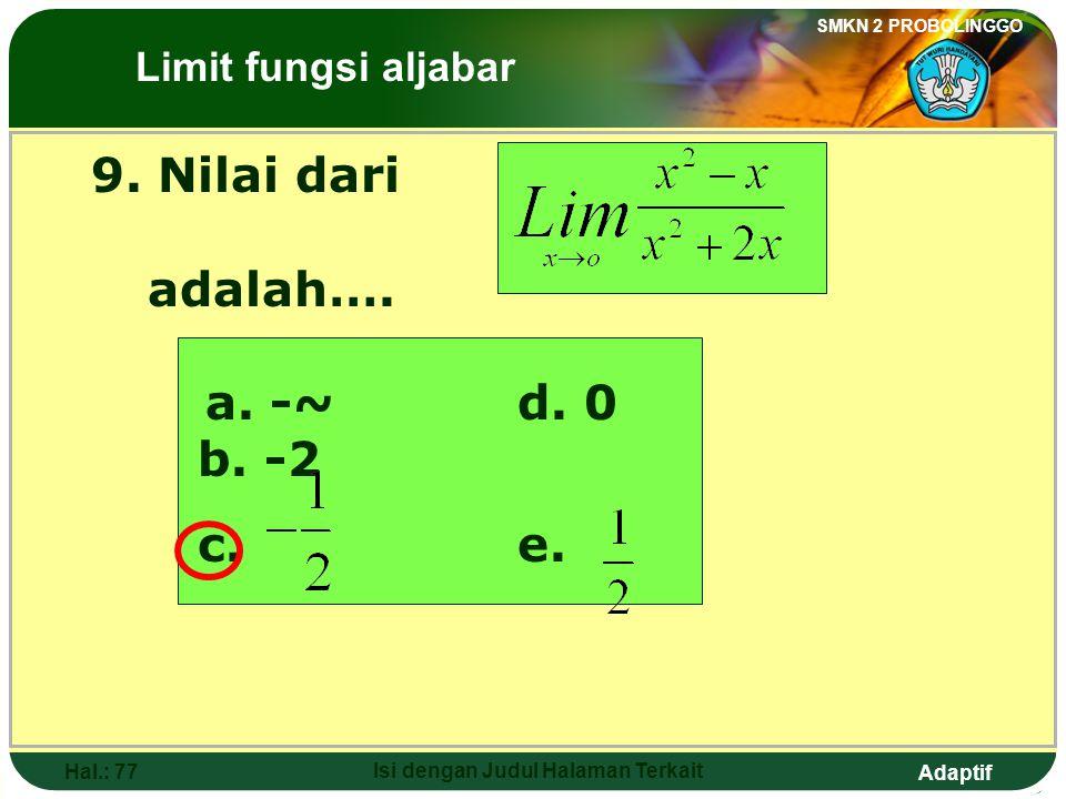 Adaptif SMKN 2 PROBOLINGGO Hal.: 76 Isi dengan Judul Halaman Terkait 8. The value of is …. a. -4d. 4 b. 0e. 8 c. 2 The Limits of Algebraic Functions