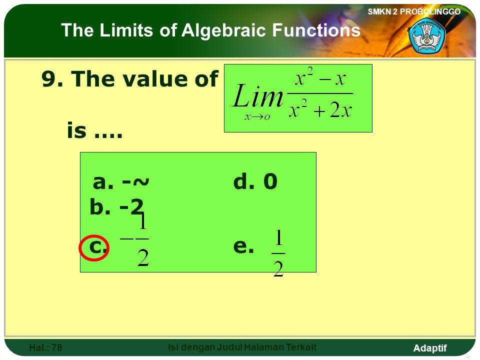 Adaptif SMKN 2 PROBOLINGGO Hal.: 77 Isi dengan Judul Halaman Terkait 9. Nilai dari adalah…. a. -~d. 0 b. -2 c. e. Limit fungsi aljabar
