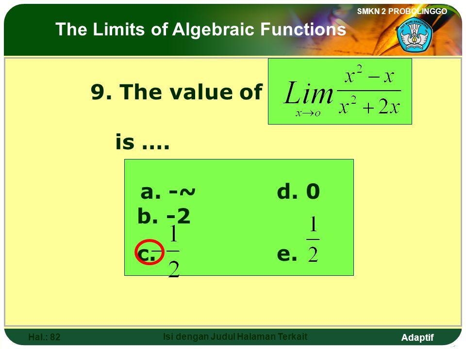 Adaptif SMKN 2 PROBOLINGGO Hal.: 81 Isi dengan Judul Halaman Terkait 9. Nilai dari adalah…. a. -~d. 0 b. -2 c. e. Limit fungsi aljabar