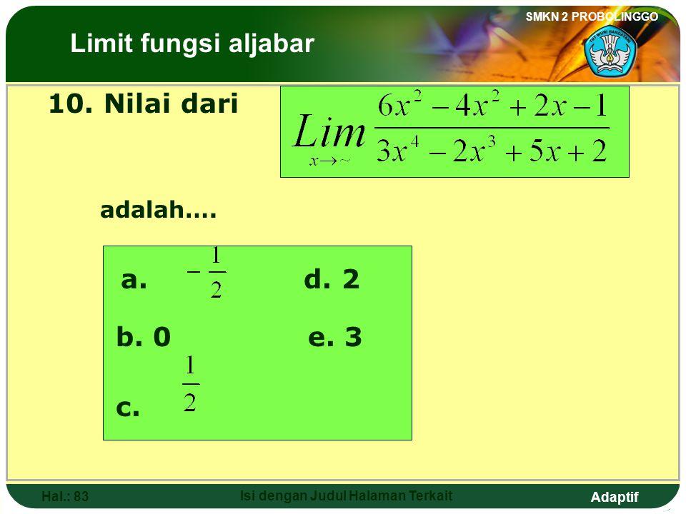 Adaptif SMKN 2 PROBOLINGGO Hal.: 82 Isi dengan Judul Halaman Terkait 9. The value of is …. a. -~d. 0 b. -2 c. e. The Limits of Algebraic Functions