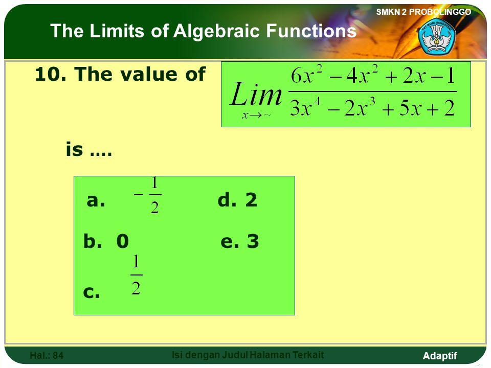 Adaptif SMKN 2 PROBOLINGGO Hal.: 83 Isi dengan Judul Halaman Terkait 10. Nilai dari adalah…. a. d. 2 b. 0 e. 3 c. Limit fungsi aljabar